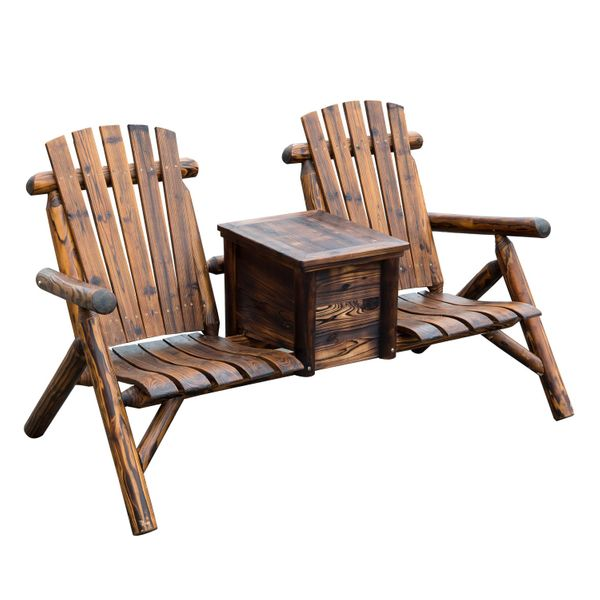 Outsunny Wooden Outdoor Two Seat Adirondack Patio Chair w/ Ice Bucket - Rustic Brown / Double Loveseat adirondack bench with cooler | Aosom