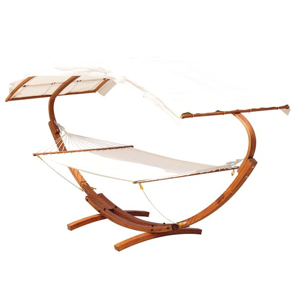 Outsunny Wooden Heavy Duty Double Hammock Stand with Sun Shade  Patio Outdoor Curved Arc Bed hammock with wooden stand|Aosom.com