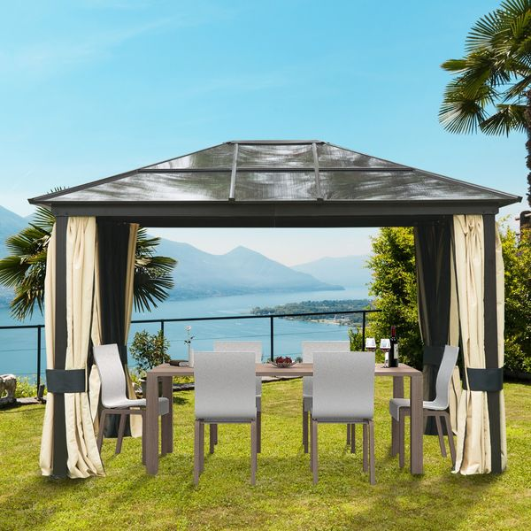 Patio Gazebo Canopy Outsunny 12' x 10' / Outsunny Outdoor Party w/ Mesh and Curtains - Beige 12'x10' Shelter Hardtop Luxury Gazebo with Curtains | Aosom