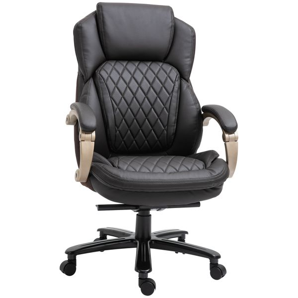 Vinsetto Rolling Chair Big And Tall Executive Office Chair High Back Ergonomic Swivel Computer Desk Chair Heavy Duty Metal Base, Adjustable Tilt Angle, Thick Padding Diamond Leather, Brown 350Lbs Home Mesh Faux | Aosom