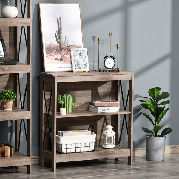HOMCOM Industrial Style 2-Tier Bookcase Bookshelf  Open Shelving Display Storage Unite with Metal X-Bar for Living Room  Dining Room  Study  Office  Dark Grey Bar Wide Space | Aosom