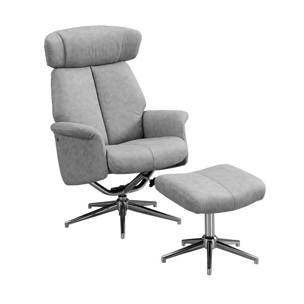Monarch Retro Modern Upholstered Faux Suede Swivel Recliner with Matching Ottoman - Grey | Aosom