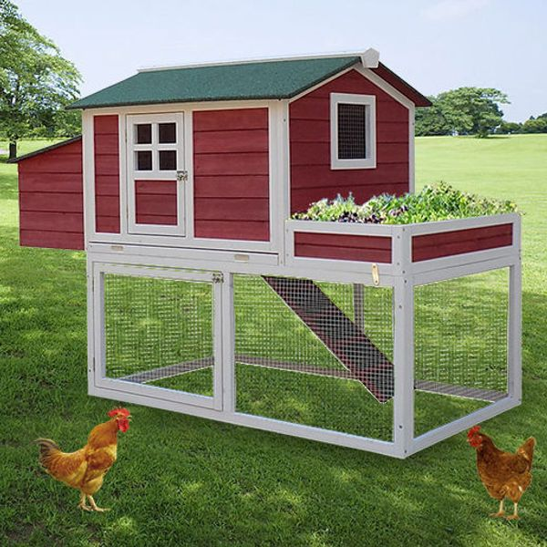 "Pawhut Chicken Coop 63"" Farmhouse Wooden Chicken Coop with Display Top, Run Area and Nesting Box Backyard Hen Hutch House Cage with Run 