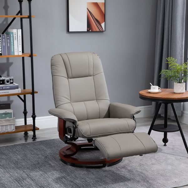HomCom Faux Leather Adjustable Manual Swivel Base Recliner Chair with Comfortable and Relaxing Footrest Grey Padding | Aosom