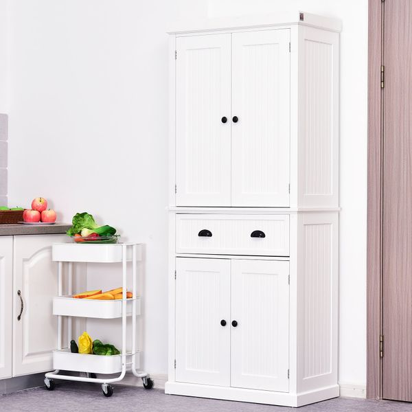 """Homcom Tall 72"""" Traditional Colonial Style Standing Kitchen Pantry Cupboard Cabinet - White