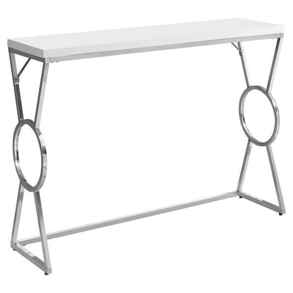 """Monarch 42"""" Contemporary Chrome Metal Circle-X Frame Accent Hall Sofa Console Table - Glossy White Finish 