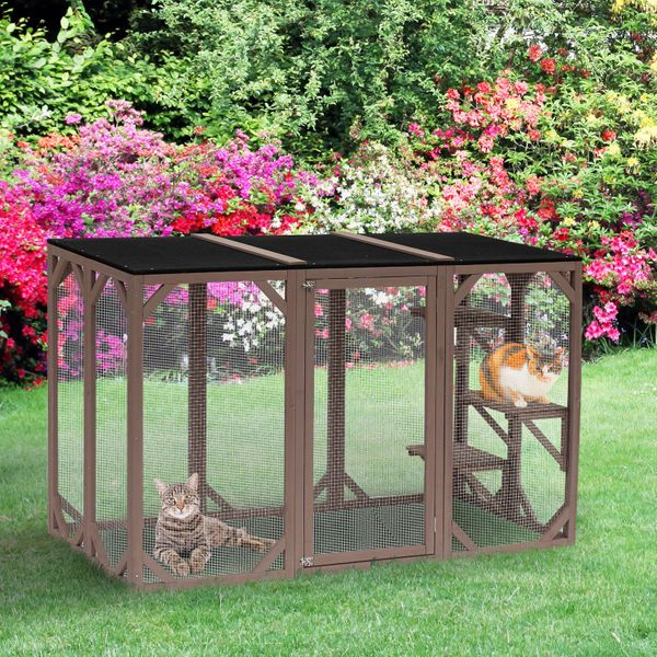 """PawHut 71"""" x 32"""" Wooden Outdoor Cat Enclosure Catio Cage With 3 Platforms / Large wooden outdoor cat cage   Aosom"""