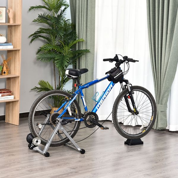 Soozier Magnetic Bike Bicycle Trainer Stand Indoor Exerciser w/5 Levels of Adjustable Resistance - Silver   Aosom
