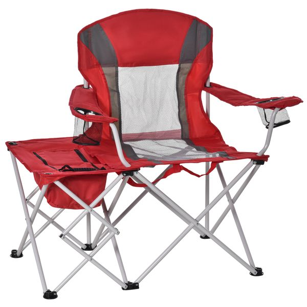 Outsunny Folding Camping Chair w/ Insulation Bag, Cup Holders And Side Table Director's Chair For Picnic, Travel, Fishing, Beach Red   Aosom