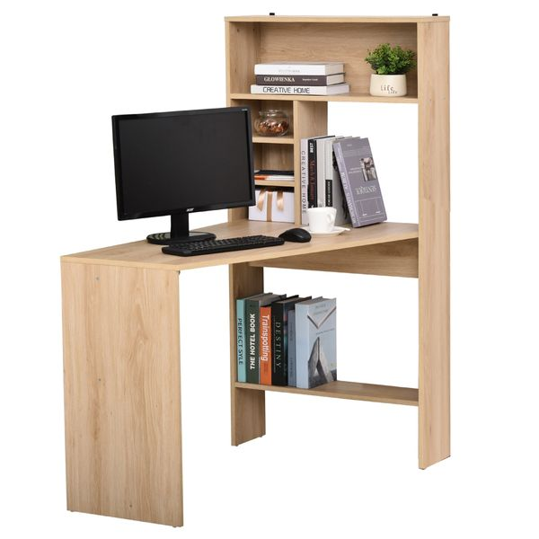 HOMCOM Nordic Style Wooden Computer Desk Workstation PC Laptop Writing Table with Hutches Storage Shelf Oak Home Study Color | Aosom