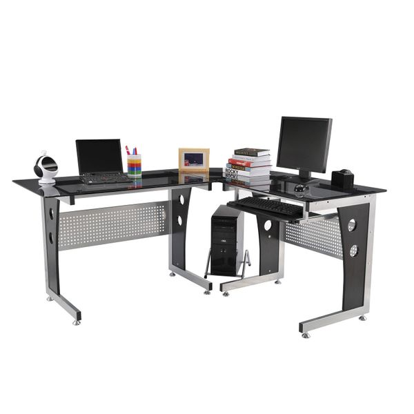 HOMCOM L-Shaped Corner Computer Desk Gaming Table Home Office Workstation Glass Top P2 MDF with Keyboard Tray - Black|AOSOM.COM