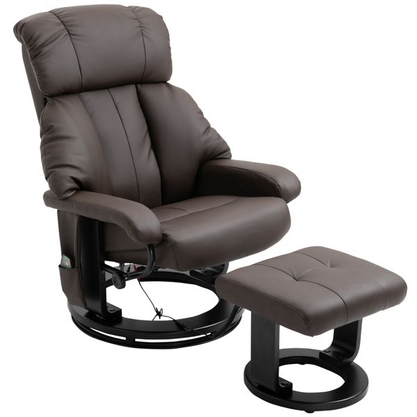 HOMCOM Massage Recliner Chair with Heat and Ottoman with Leather-Wrapped Base - Brown|AOSOM.COM