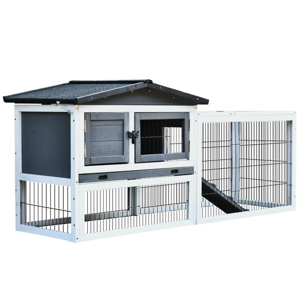 PawHut Solid Wood Rabbit Hutch with 2 House Levels and Patio SpaceStrong Black Metal Cage Wire and Easy Clean Tray | Aosom