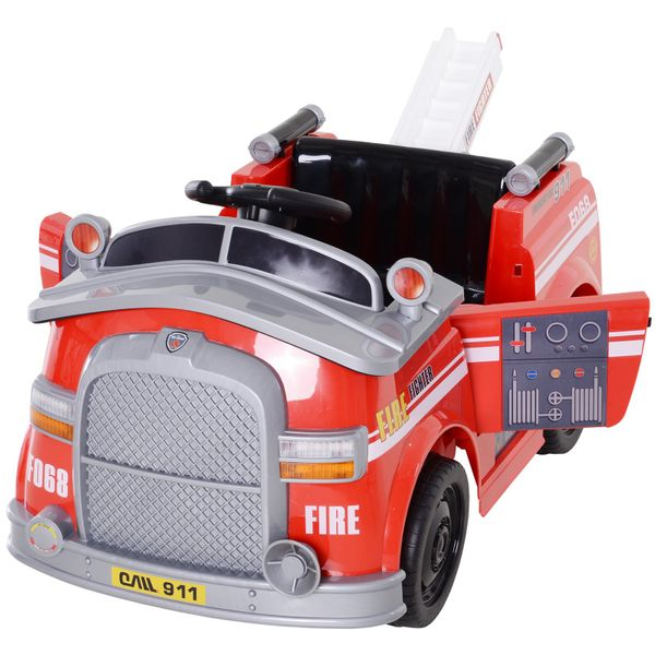 Aosom 6V Electric Ride-On Fire Truck Vehicle for Kids with Remote Control  Music  Lights  and Ladder|AOSOM.COM