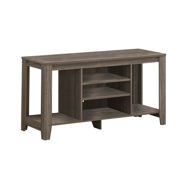 """Monarch 48"""" Reclaimed Wood-Look Contemporary TV Console Stand with Open Concept Storage and Adjustable Shelves - Dark Taupe   Aosom"""