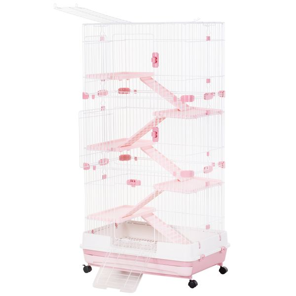 "PawHut 6-Level Rabbit or Small Animal Hutch Perfect for Your Child's Furry Family Member  57.5"" H  Pink  