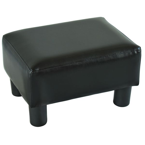 "HomCom Modern Chic 15"" Small Rectangular Leather Ottoman Footrest Bright Black 