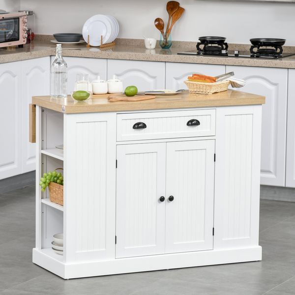 HOMCOM Fluted-Style Wooden Kitchen Island Cabinet with Drop Leaf  Drawer  Open Shelving  and Interior Shelving  White 1   Aosom