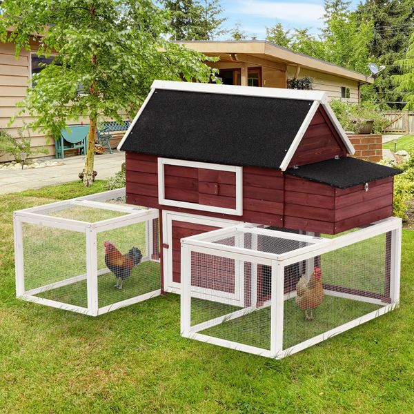 "PawHut 114"" Modular Wooden Backyard Chicken Coop With Nesting Box And Customizable Dual Outdoor Runs chicken coop with runs 