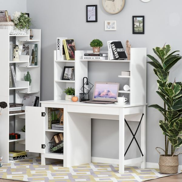 HOMCOM Computer Desk with Hutch and Storage Cabinet Home Office Computer Workstation  Study Writing Table White File Working | Aosom