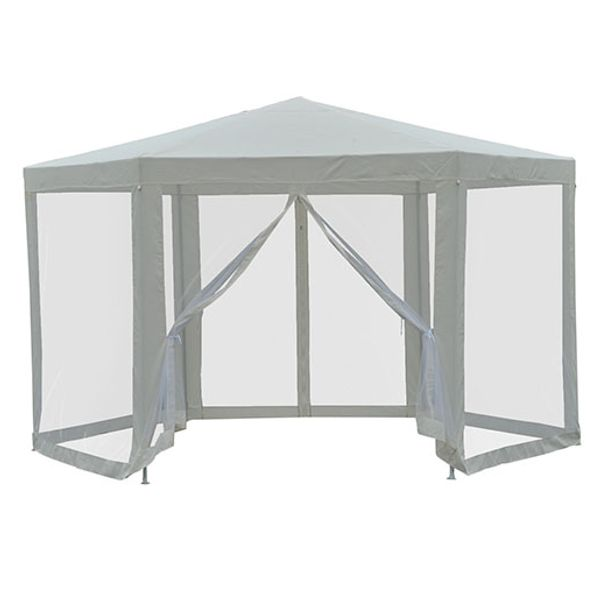 Outsunny Outdoor Hexagon Party Gazebo with Cathedral Style Roof Mesh Side Walls -Cream White gazebo with mesh sidewalls   Aosom
