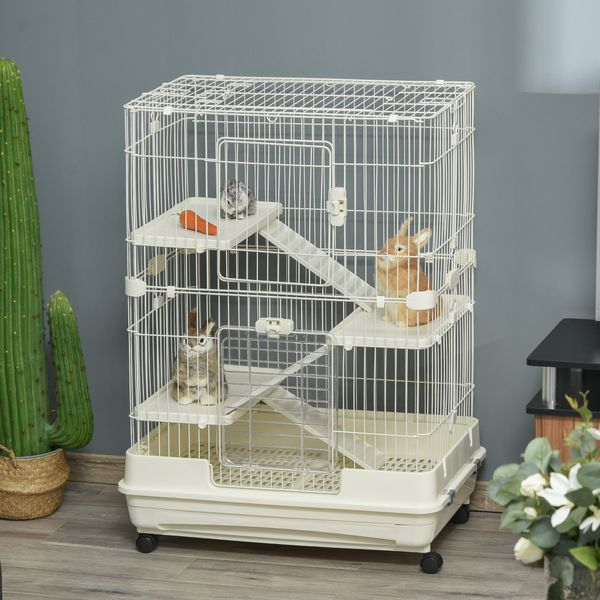 """PawHut 4-Level Hamster or Small Animal Hutch/Cage  Perfect for Your Child's Furry Family Member  White  43.25"""" H Rabbit 