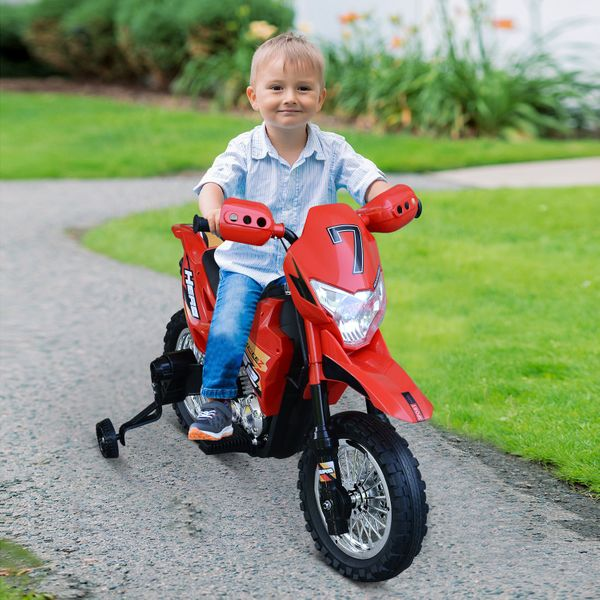 Aosom Cruising Kids Dirt Bike Electric Motorcycle with Charging 6V Battery  Real Driving Sounds  & Built-In Music  Red Ride-On Childrens w/ Fun   Aosom