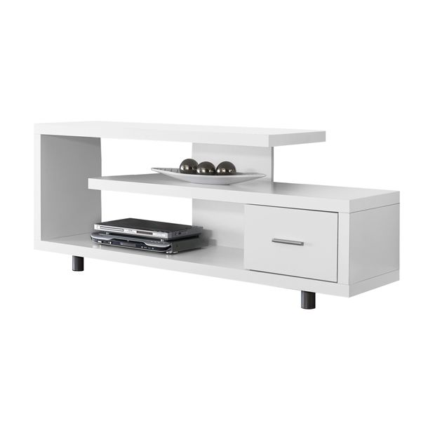 "Monarch 60"" Art Deco Style 3-Tier Open Shelf Storage Drawer Console TV Stand - White Finish 