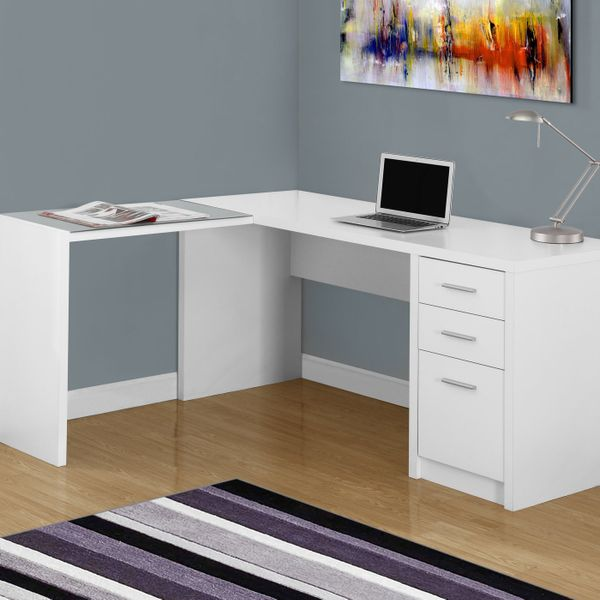 Monarch Contemporary L-Shaped Corner Computer Desk with Storage Drawers, File Drawer and Side Table with Tempered Glass Top - White   Aosom