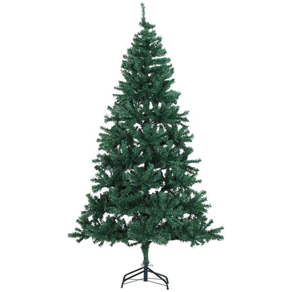 HOMCOM 4.5' PVC Unlit Artificial Christmas Tree with 400 Tips and Foldable Metal Stand  Green|AOSOM.COM