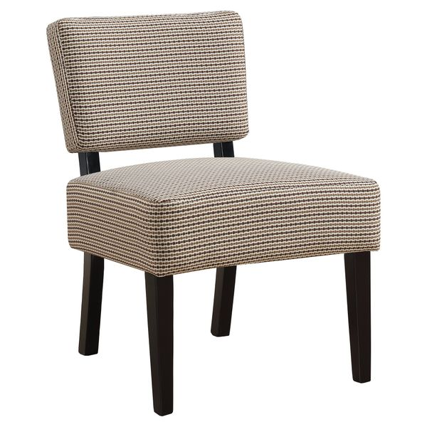Monarch Contemporary Two-Tone Abstract Dot Pattern Accent Slipper Chair - Light Brown / Black | Aosom
