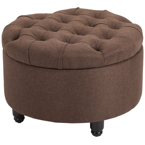 HOMCOM Round Linen Fabric Storage Ottoman Footstool with Removable Lid Brown Footrest of   Aosom