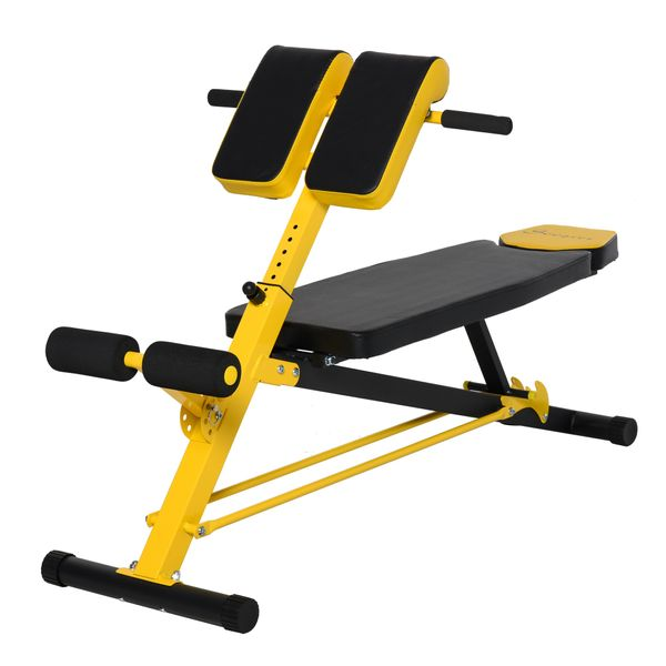Soozier Upgraded Multi-Functional Hyper Extension Bench Dumbbell Bench Adjustable Roman Chair Ab Sit up Decline Flat   Aosom