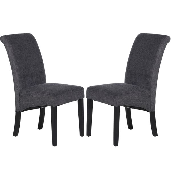 HOMCOM Set of 2 Dining Chair Side Seat with Wood Legs for Dining Room Living Room Grey AOSOM.COM