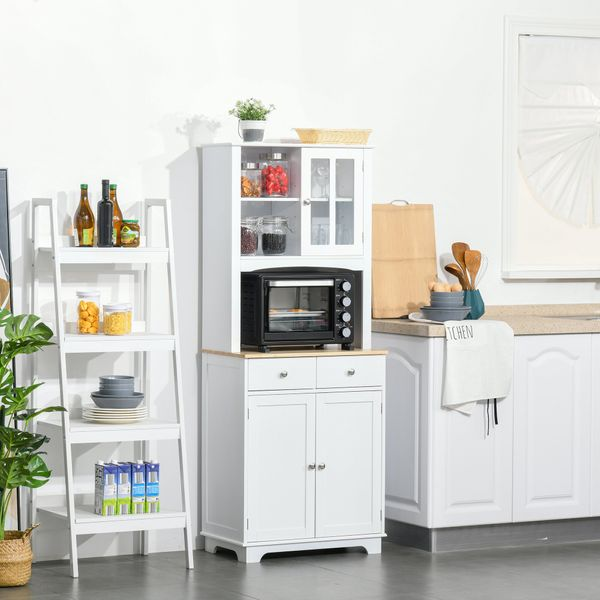 """HOMCOM 67"""" Kitchen Buffet with Hutch Pantry with Framed Doors, 2 Drawers, and Open Microwave Countertop, White Pantry/Wood for Dining Room, 
