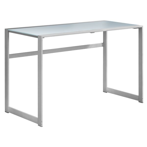 """Monarch 48"""" Contemporary Frosted Tempered Glass Top Computer Writing Desk - White / Silver 
