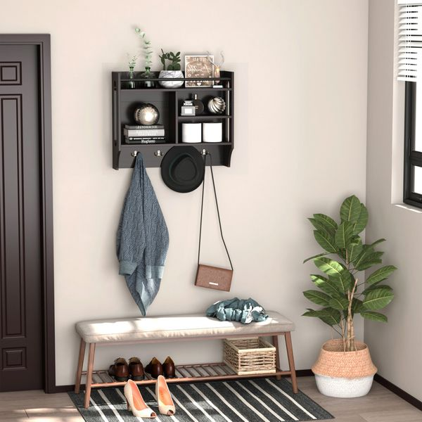 HOMCOM Wall-Mounted Floating Storage Shelf with 4 Storage Units and 4 Dual Hooks  Coat Rack Display Stand for Entryway Living Room  Espresso Wall W/ | Aosom