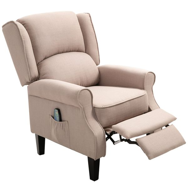 HOMCOM Heated Vibrating Massage Recliner Chair Linen Fabric Footrest with Remote controller - Beige|AOSOM.COM