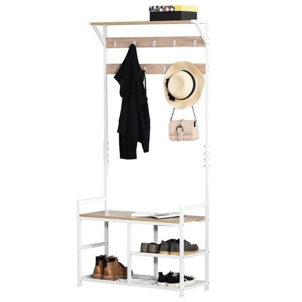 HOMCOM Hallway Tree Bench Organizer with 9 Coat Hooks, Large Sitting Bench and 3 Open Shelves for Entryway, Natural/White Hooks   Aosom