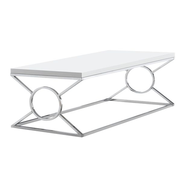 """Monarch 44"""" Contemporary Chrome Metal Circle-X Frame Accent Cocktail Coffee Table - Glossy White Finish   Aosom"""
