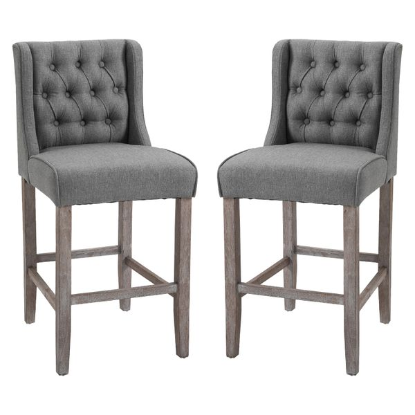 "HomCom Furniture 40"" Tufted Wingback Counter Height Armless Bar Stool Chair Set of 2 - Grey / Upholstered Backed Bar Stool 