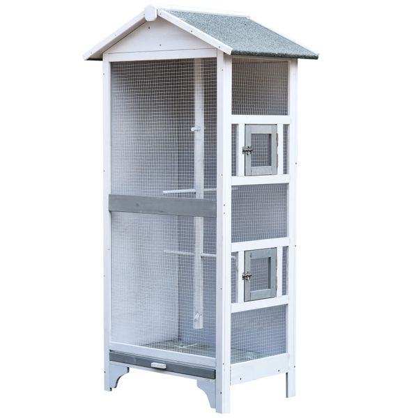 PawHut Wooden Outdoor Aviary Bird Cage Large Play House w/ removable Bottom tray | Aosom