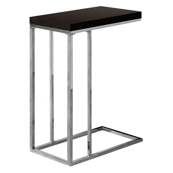 """Monarch 25"""" Contemporary Wood Grain-Like Chrome Metal Base C-Shaped Side Accent Table - Cappuccino Brown Finish 