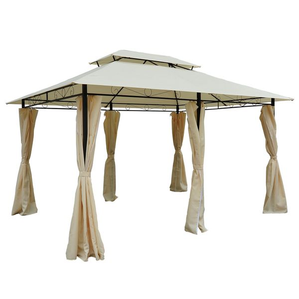Outsunny 13' x 10' Outdoor 2-Tier Metal Patio Gazebo Large Steel Frame Gazebo with Curtains - Black/Cream | Aosom.com