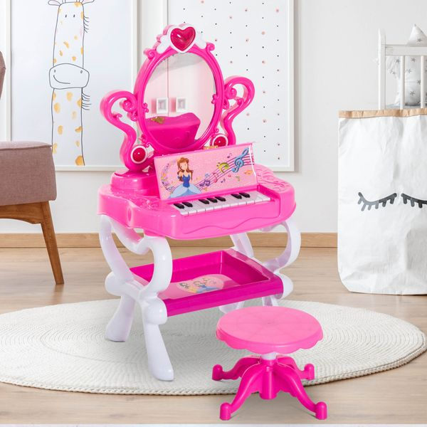 Qaba 2-In-1 Kids Piano Vanity Table Stool Princess Pretend Play Set with Lights Sounds and Accessories - Pink/White / kids vanity table with piano keys | Aosom