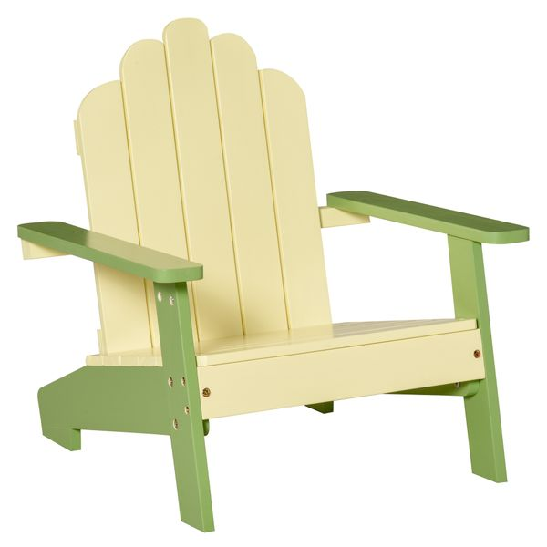 """Outsunny Small Kids Pine Wood Adirondack Lounger Chair with Slat Style Backrest and Wide Seat for Beach, Garden, or Poolside, Green Wooden Outdoor/Indoor 20"""" x 19.75"""" x 20.75"""" for Age 1-4 