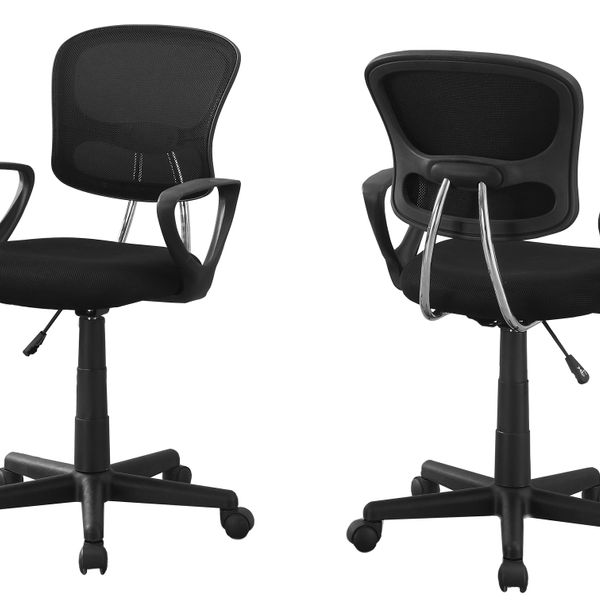 Monarch Ergonomic Swivelling Adjustable Juvenile Curved Mid Back Office Chair - White / Black   Aosom