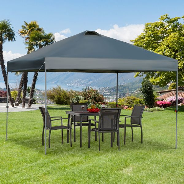 Outsunny 10' x 10' Outdoor Pop-Up Party Tent Canopy with Top Vent, 3-Level Adjustable Height and Roller Bag, Grey Pop Up Gazebo w/ Legs Bag   Aosom