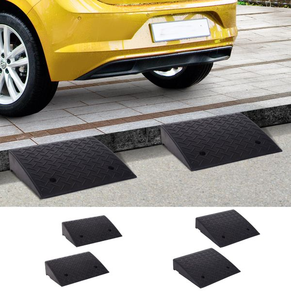 2Pcs Heavy Duty Curb Ramps Rubber Trailer Car Scooter Driveway Vehicle Pass Slope Mat | Aosom