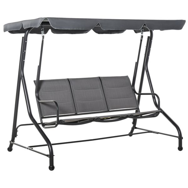 Outsunny 3-Seater Porch Swing Chair Outdoor Patio Bench for Deck with Adjustable Canopy, Padded Sling Fabric Seat 3-Person w/ Weather-Fighting Tilt   Aosom